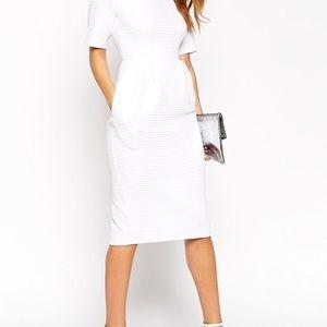 ASOS Pencil Dress In Wiggle Shape - Cream / US 10